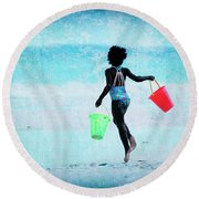 Red And Green Pails Round Beach Towel