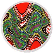 Red And Green Thing Round Beach Towel
