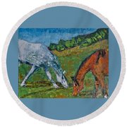 Red And His Mare Round Beach Towel