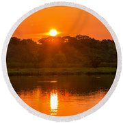 Red And Orange Jungle Sunset Round Beach Towel