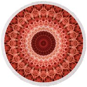 Red And Orange Mandala Round Beach Towel