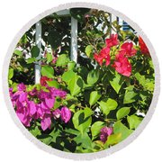 Red And Purple Flowers Round Beach Towel