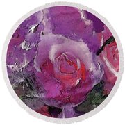 Red And Violet Roses Round Beach Towel