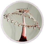 Red And White Crown Round Beach Towel