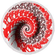 Red And White Fractal Round Beach Towel