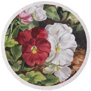 Red And White Pansies Round Beach Towel