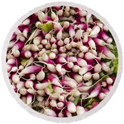 Red And White Radishes Round Beach Towel by John Trax