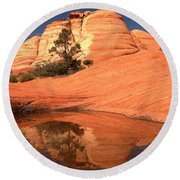 Red And White Reflections In Blue Round Beach Towel