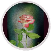 Red And White Rose5 Cutout Round Beach Towel