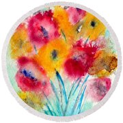Red And Yellow Flowers Round Beach Towel