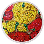 Red And Yellow Garden Round Beach Towel