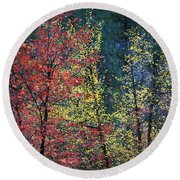 Red And Yellow Leaves Abstract Horizontal Number 1 Round Beach Towel