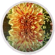 Red And Yellow Reflection Round Beach Towel