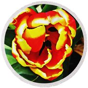 Red And Yellow Tulip Round Beach Towel