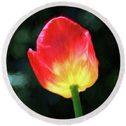 Red And Yellow Tulip - Photopainting Round Beach Towel
