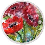 Red Anemone Flowers Round Beach Towel