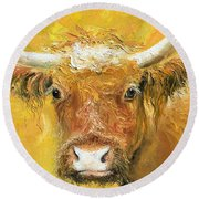 Red Angus Cow Round Beach Towel