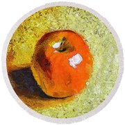 Red Apple Round Beach Towel
