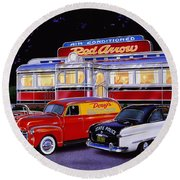 Red Arrow Diner Round Beach Towel