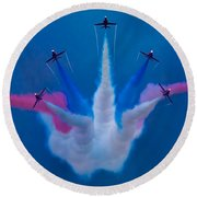 Red Arrows At Airbourne 2010 Round Beach Towel