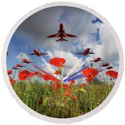 Red Arrows Poppy Fly Past Round Beach Towel