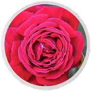 Red As A Rose  Round Beach Towel