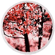 Red Aspen II Round Beach Towel