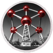 Red Atomium Round Beach Towel