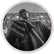 Red Auerbach Chilling At Fanueil Hall Black And White Round Beach Towel