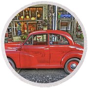 Red Morris Minor Round Beach Towel