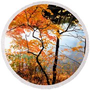 Red Autumn Leaves 5 Round Beach Towel