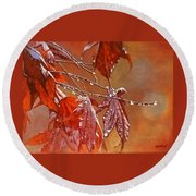 Red Autumn Round Beach Towel