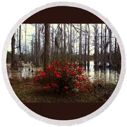 Red Azaleas In The Swamp Round Beach Towel