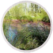 Red Azolla Round Beach Towel
