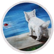 Red Ball Round Beach Towel