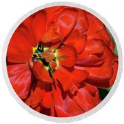 Red Ball Of Fire Round Beach Towel