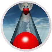 Red Balls From Space Round Beach Towel