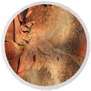 Red Bark Nature Abstract Round Beach Towel