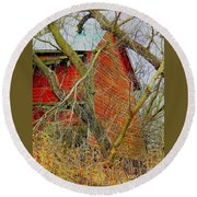 Red Barn Behind The Trees Round Beach Towel