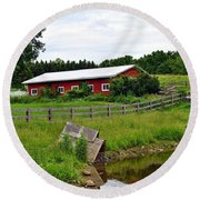 Red Barn By The Lake Round Beach Towel