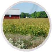 Red Barn In Pasture Round Beach Towel
