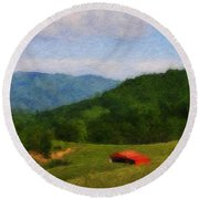 Red Barn On The Mountain Round Beach Towel