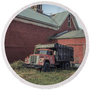 Red Barn Red Truck Round Beach Towel