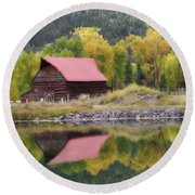 Red Barn Reflections Round Beach Towel