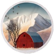 Red Barn Snow Western - Countryside Painting Round Beach Towel