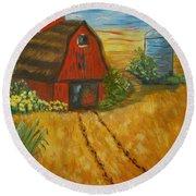 Red Barn- Wheat Field- Down Home Round Beach Towel
