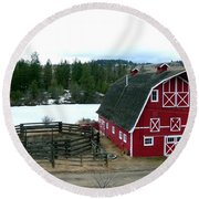 Red Barn Round Beach Towel by Will Borden