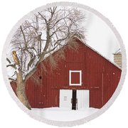 Red Barn Winter Country Landscape Round Beach Towel by James BO  Insogna