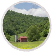 Red Barn Yellow Buttercups Round Beach Towel