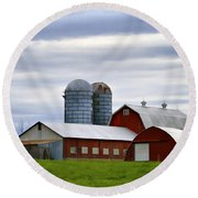 Red Barns Of 3 Round Beach Towel